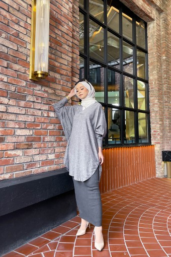 Lena Long Top In Dark Grey