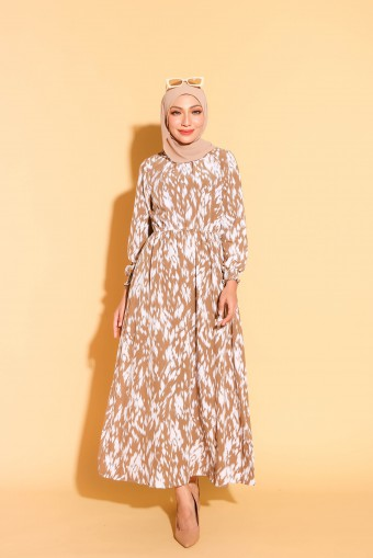 Rania Dress In Greyish Brown